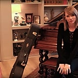 To the right of the entryway was Taylor's song writing room, housing her piano and one of her many guitars.