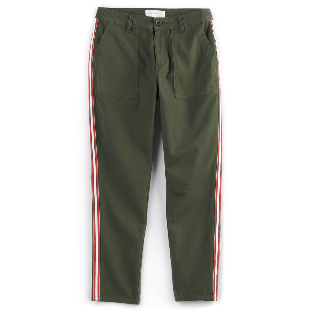 Constrast-Stripe Ankle Pants