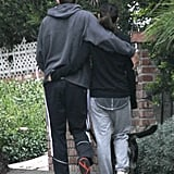They walked hip to hip through LA with their dog in December 2012.