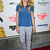 Kristen Bell capitalized on a cool blue hue in a Vanessa Bruno blouse and printed pants.
