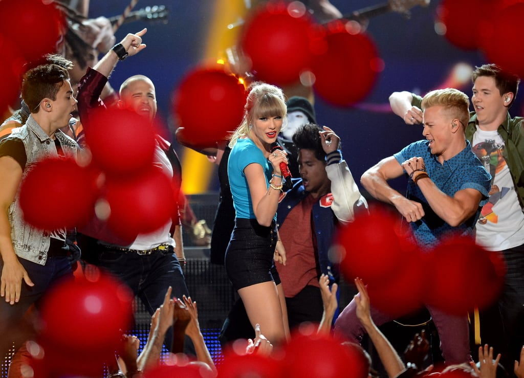 "Balloons filled the air during Taylor Swift's performance of ""22."""