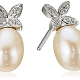 Freshwater Cultured Pearl With Diamond Leaf Stud Earrings