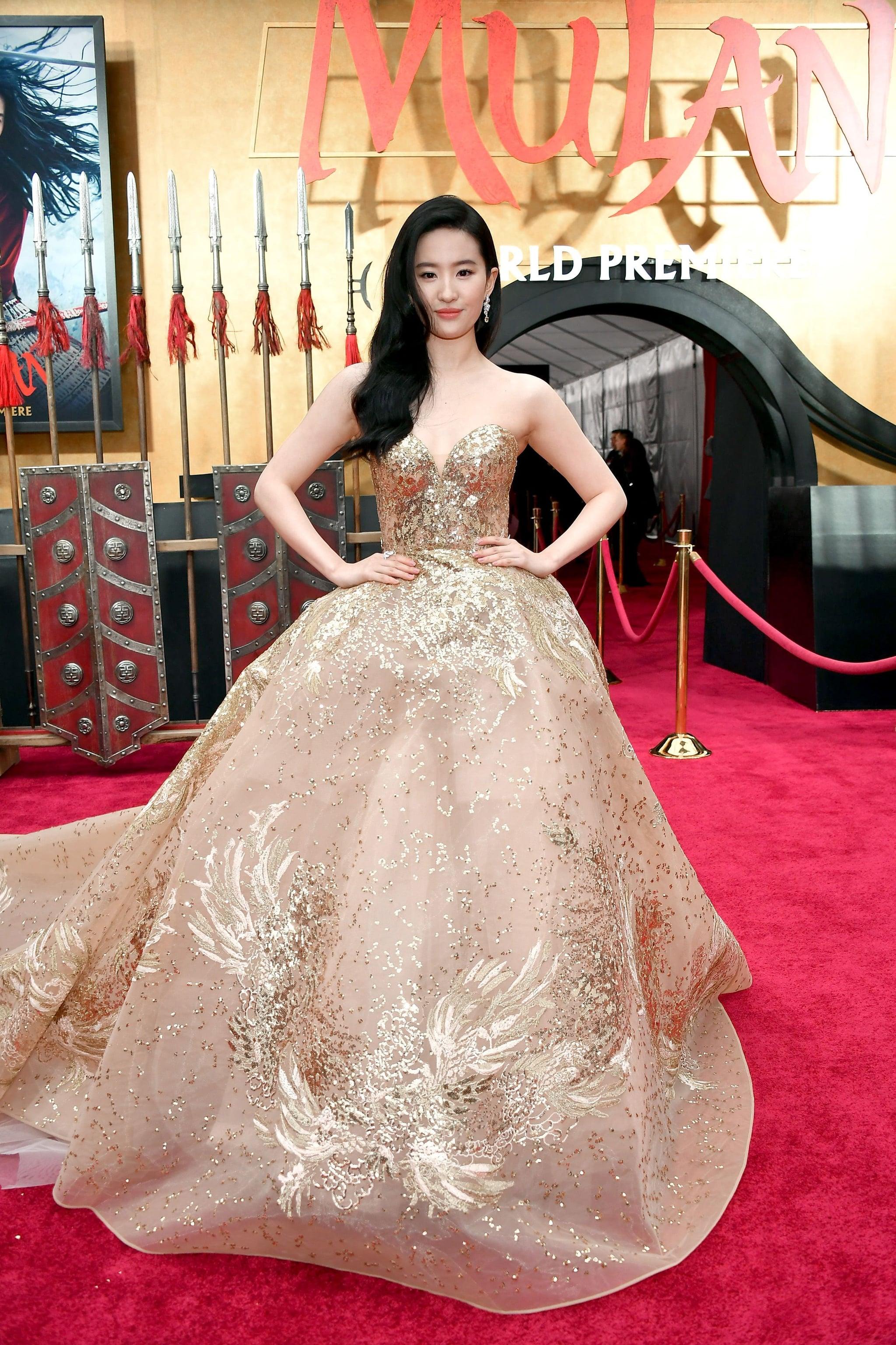 Liu Yifei Wearing Gold Elie Saab Gown At Mulan Premiere Popsugar