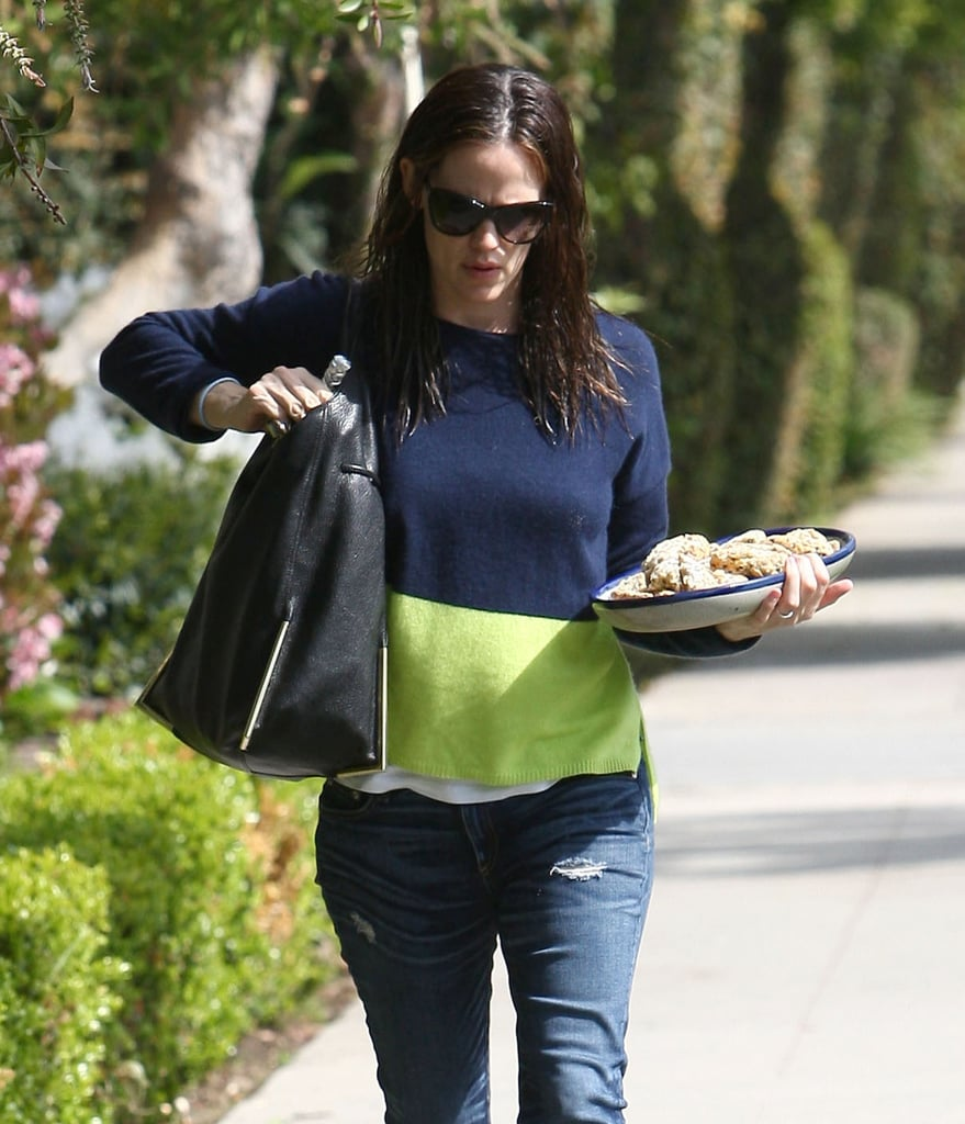 Jennifer Garner wore a green and blue sweater in LA.