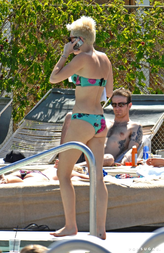 Miley Cyrus hung out at a pool in Palm Desert.