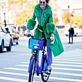 Kendall Jenner Green Coat on Her Birthday in NYC 2018