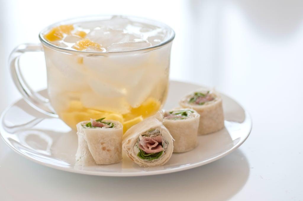 Mango Green Tea + Herbed Cheese Prosciutto Rolls