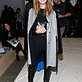 Nina Garcia topped her downtown-chic style with a fur-sleeved coat at Reed Krakoff.