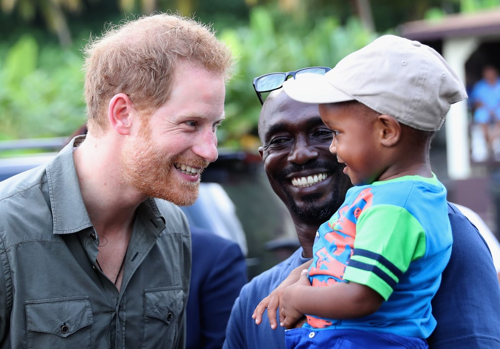 Prince Harry is currently on his 14-day tour of the Caribbean, and his latest stop in Saint Vincent and the Grenadines was full of cute moments. Not only did he meet Polly the Vincey Parrot while visiting the Botanic Gardens in Kingstown, but he appeared to have an absolute blast as he played with children at the Turtle Conservation Project in  Colonarie on Saturday. While there, Harry cracked open a coconut and bonded with several kids, but he was particularly taken by a little boy named Jyasi Junior. At one point, he was even seen tickling his stomach. Thankfully, the fun isn't over quite yet as Harry still has six more days left on his tour.      Related:                                                                                                           Prince Harry Looks Like a Giddy Little Kid as He Releases Baby Turtles Into the Sea