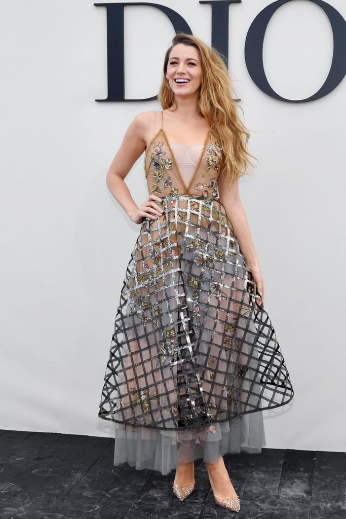 Blake Lively Wearing a Sequinned Caged Dress
