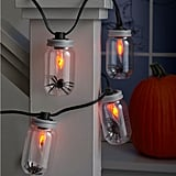 Hyde and Eek! Boutique Halloween Flicker Flame Clear Jar Lights With Spiders