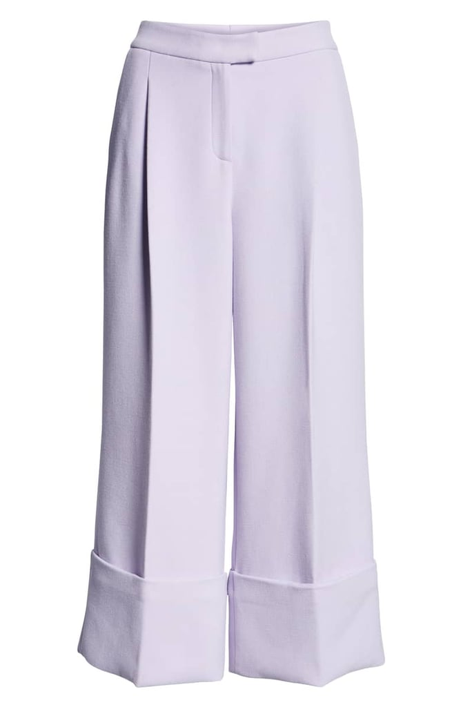 High-Waist Wide-Cuff Ankle Pants