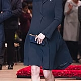 Kate wore head-to-toe blue for the Commonwealth Day Service in March 2018. She wore a navy Beulah London coat, a Lock & Co. hat, and Rupert Sanderson heels. Her clutch was from Jimmy Choo.