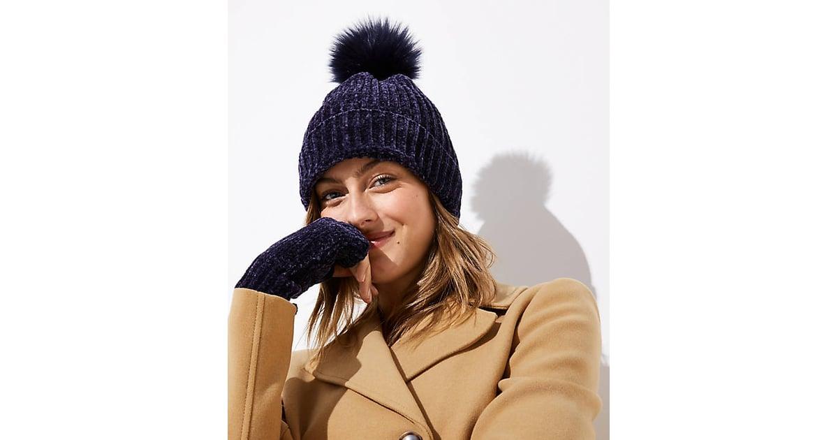 3f934017ce8 LOFT Chenille Faux Fur Pom-Pom Hat
