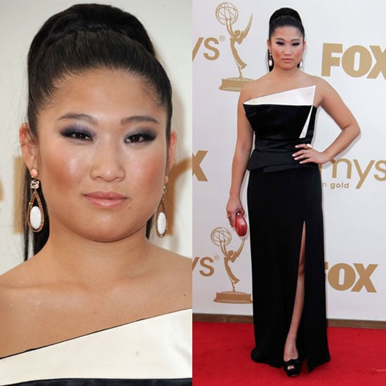 Pictures of Glee Star Jenna Ushkowitz in Ghadah dress on the red carpet at the 2011 Emmy Awards