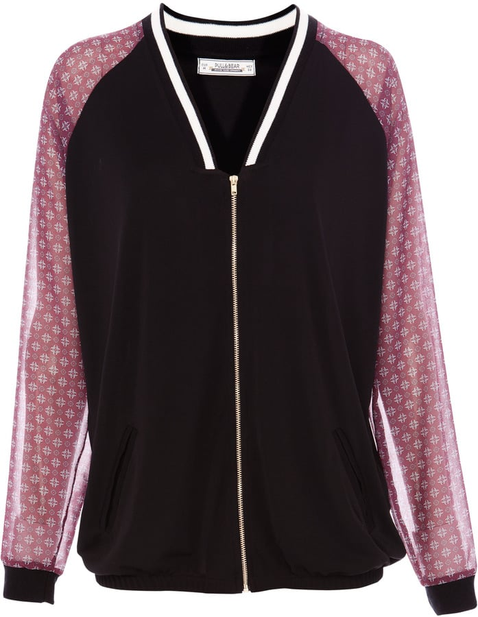 The sheer sleeves of this Pull&Bear bomber jacket (£26) give it a feminine touch.
