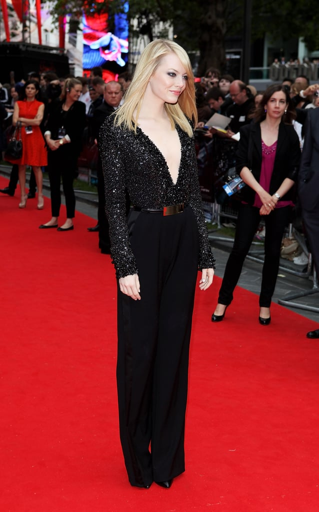 Emma Stone Jumps Into a London Premiere With Fan-Friendly Andrew Garfield