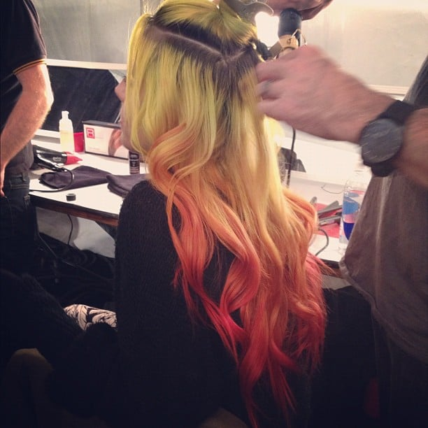 We spotted a model with very colorful ombré hair.