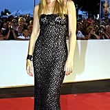A slinky black strapless for the Venice Film Festival in 2002.