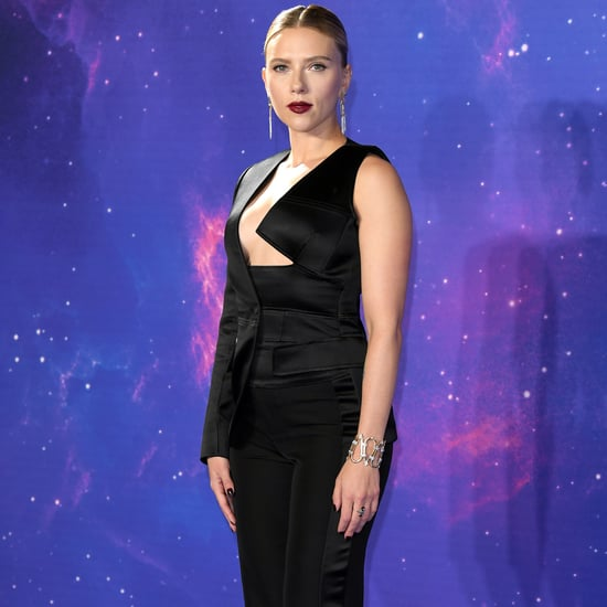 Scarlett Johansson Black Suit at Avengers Endgame Red Carpet