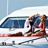 Sacha Baron Cohen posed on a luxury yacht for The Dictator with Elisabetta Canalis at the Cannes Film Festival.
