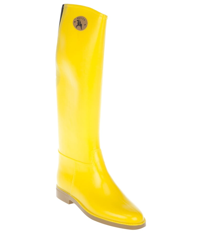 I can't say enough about the awesome shape and color of these Dafna rubber boots ($84. They're a very grown-up version of our kiddie galoshes.