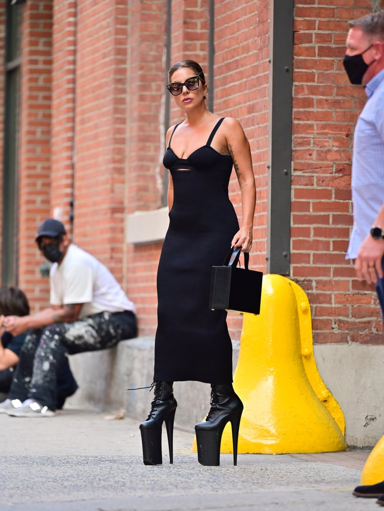Lady Gaga Wears Platform Pleaser Boots in NYC   Photos