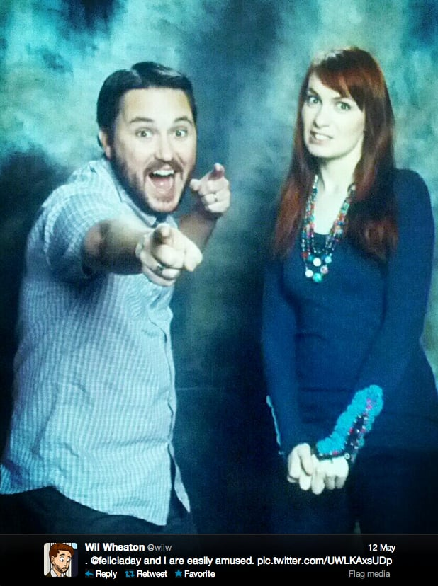 Actor Wil Wheaton wants you to be amused. Geek & Sundry's Felicia Day is not impressed.