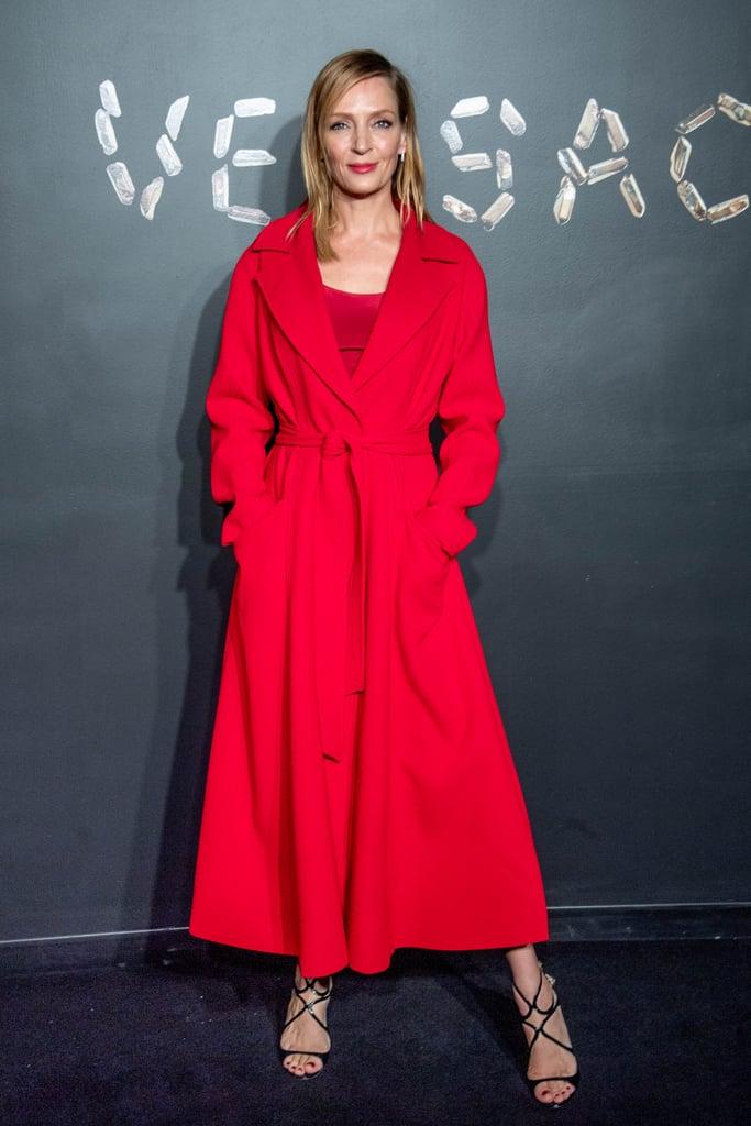 Uma Thurman Stunned in an All Red Ensemble