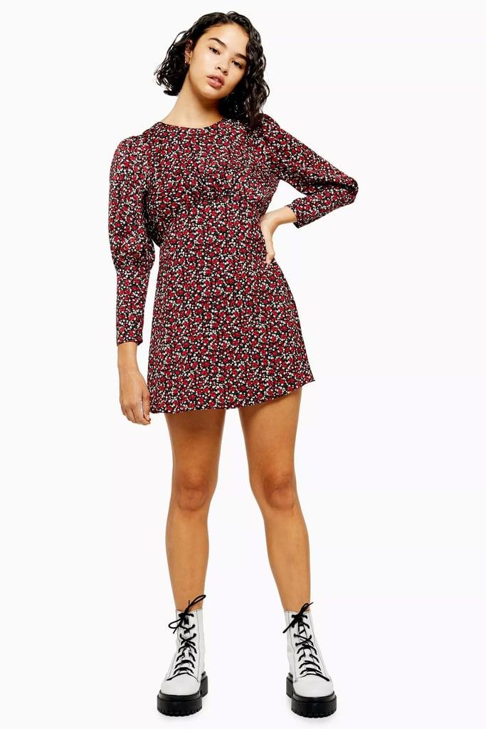 Topshop Printed Long Sleeve Mini Dress