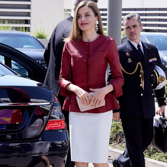 Queen Letizia Burgundy Leather Top May 2017