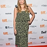 Elizabeth Olsen picked a printed Proenza Schouler dress and peep-toe booties for the Therese premiere in Toronto.