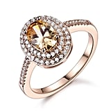 GULICX Jewelry Rose-Gold Base CZ Oval Rhinestone Ring