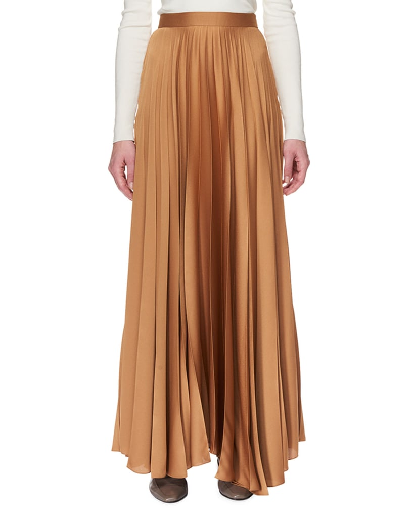 The Row Vailen Pleated Satin Skirt