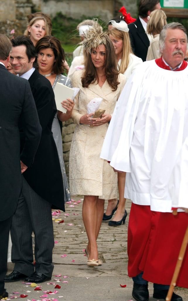 Kate Wearing Her Yellow Coat For Laura Parker Bowles and Harry Lopes's Wedding, 2006