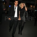 Jennifer Aniston and Justin Theroux at Christie's Auction House in NYC.