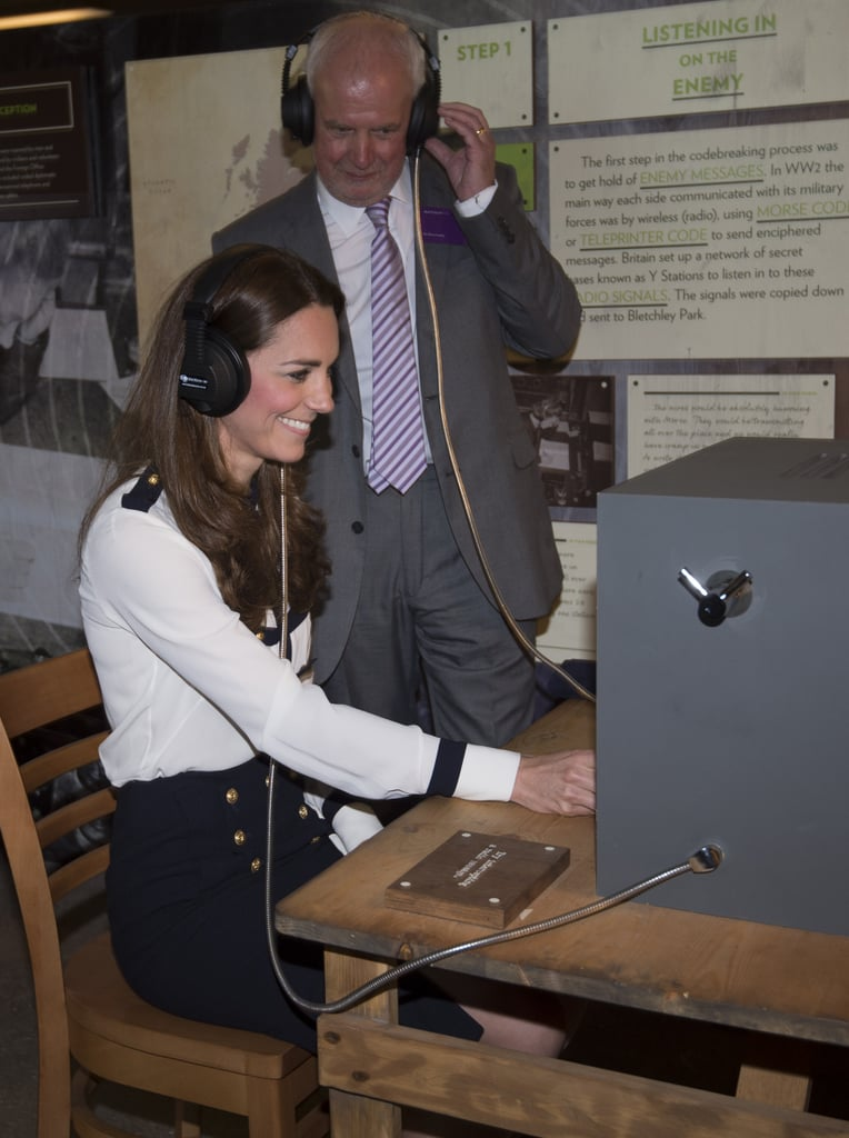 Kate Middleton had fun deciphering Morse code at Bletchley Park in Bletchley, England on Wednesday.