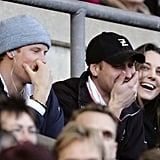 Prince William cracked up when he sat between Prince Harry and his then-girlfriend Kate Middleton at the RBS Six Nations Championship match in London in February 2007.