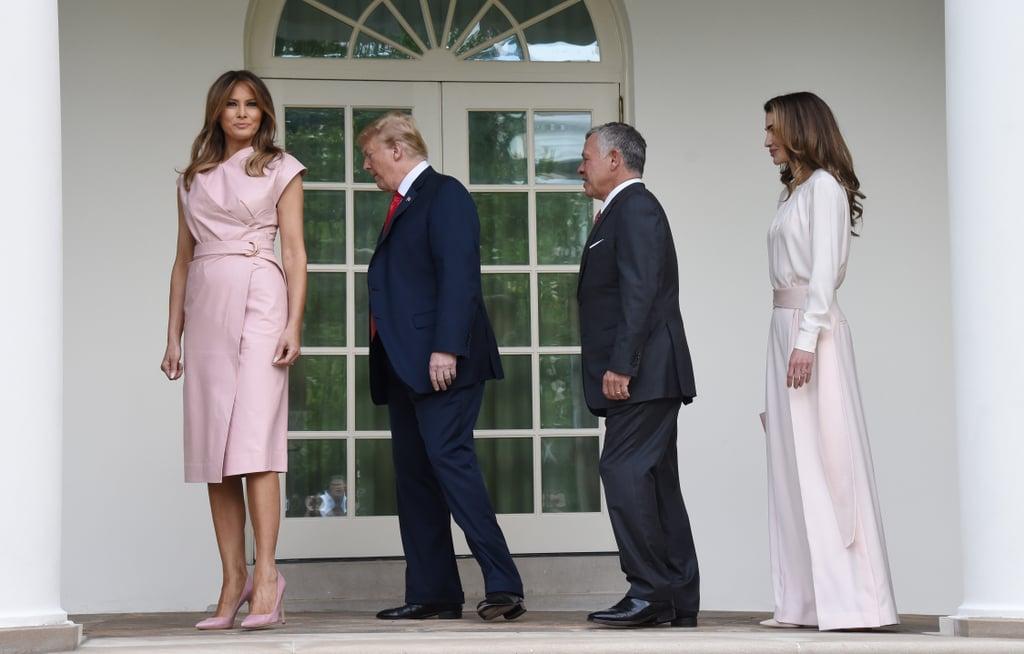 Melania Trump Pink Wrap Dress With Queen Rania 2018
