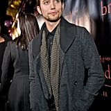 Jackson Rathbone stayed warm in layers in Chicago.