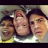 Kaling goofed around with costars Messina and Barinholtz. Source: Instagram user mindykaling