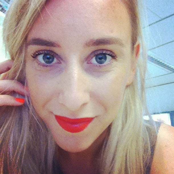 Alison showed off a perfect red lip, bright nails and a lash perm! Yes, a lash perm.