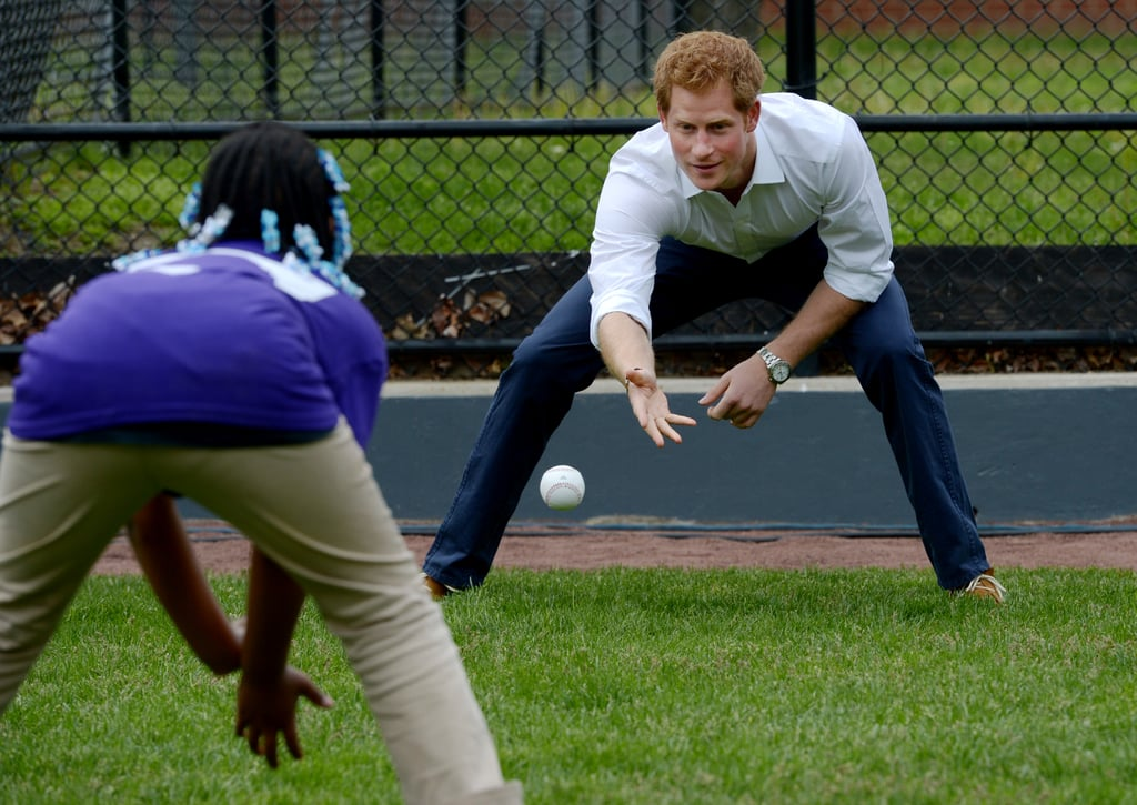 He brushed up on his baseball skills in Harlem, NYC, in May 2013.