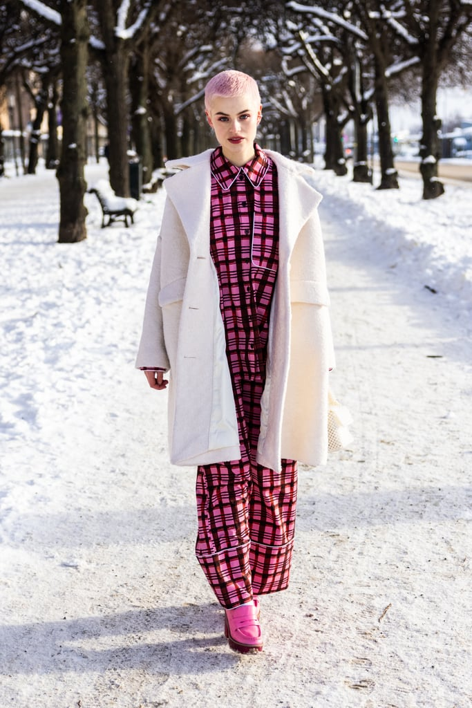 Layer a snow-white wool coat over printed pajamas and style with loafers, and you'll look chic as can be.