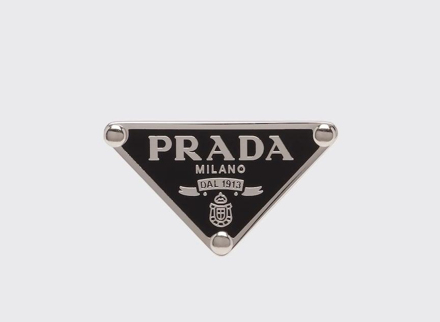 Prada Enamel Triangle Logo Clip Earring