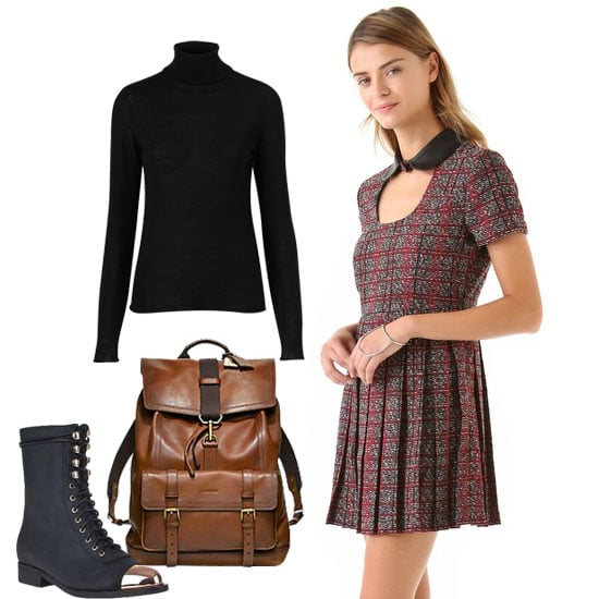 '90s grunge girl? Layer this sweet tweed minidress with a turtleneck, tough lace-up boots, and a leather backpack for a fun twist of good girl gone bad. Shop the look:  Topshop Knitted Merino Wool Roll Neck Top ($90) Jeffrey Campbell Zorro Mid-Shaft Boot Black Leather ($225) Funktional Courtney Pleated Dress ($95, originally $159) Coach Bleecker Leather Backpack ($698)
