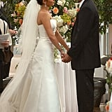 In July 2003, Jaime-Lynn Sigler married A.J. DiScala in a beautiful NYC ceremony. For the special occasion, the actress chose a strapless off-the-rack Vera Wang gown with a sweeping veil.