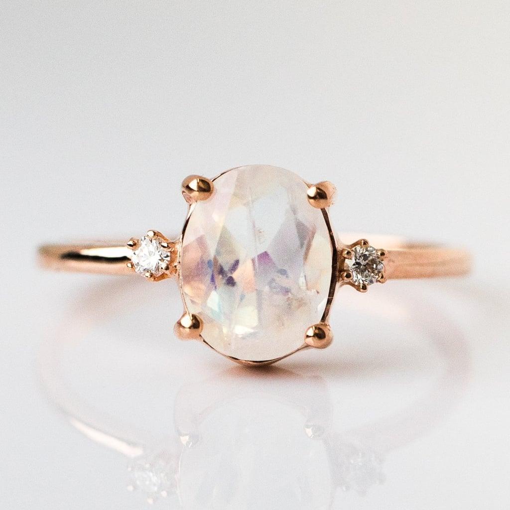 Rainbow Moonstone Ring With Diamonds