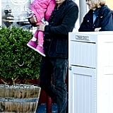 Ben Affleck carried Seraphina to breakfast at Brentwood County Mart in LA.