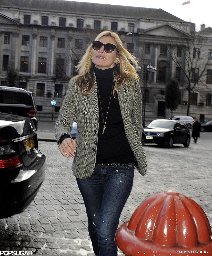 Kate Moss wore a pair of sunglasses while she was out.